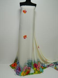 Triplu voal subtire crem imprimat digital cu bordura flori multicolore