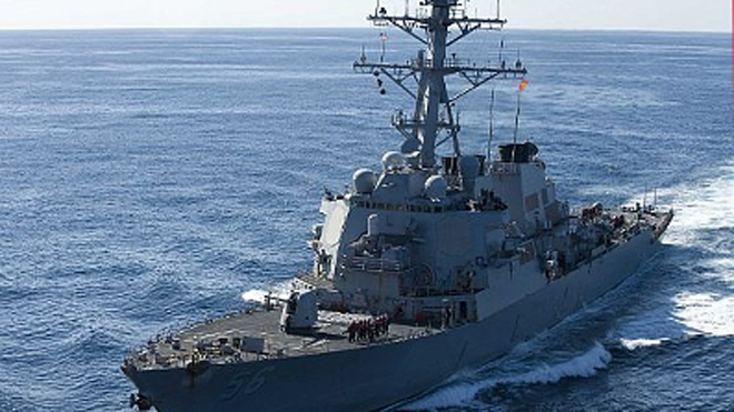 USS John McCain Navy ship deployed off the coast of the Korean Peninsula