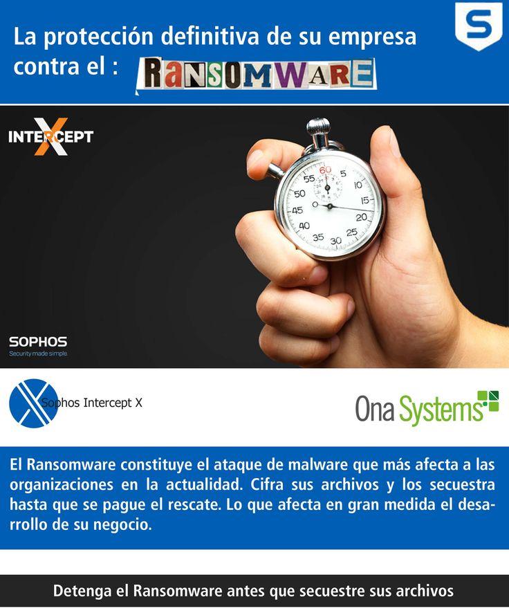 Pequeñas y grandes empresas se enfrentan a amenazas de ataques de Ransomware cada vez más brutales y agresivos. Ona Systems presenta su solución Sophos Interceptx. Detenga el ransomware antes de que secuestren sus archivos.