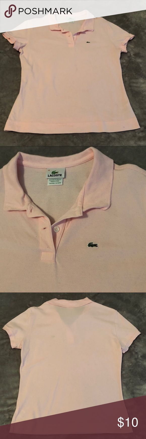 EUC Lacoste Polo (M) Pre-loved and in excellent condition, this Lacoste pale pink polo is ready for your closet!  Size - 44 (Lacoste website translates this to size 12 but I generally wear mediums, size 8-10 most comfortably, and think this fits right in that range)  Offers welcome! Lacoste Tops