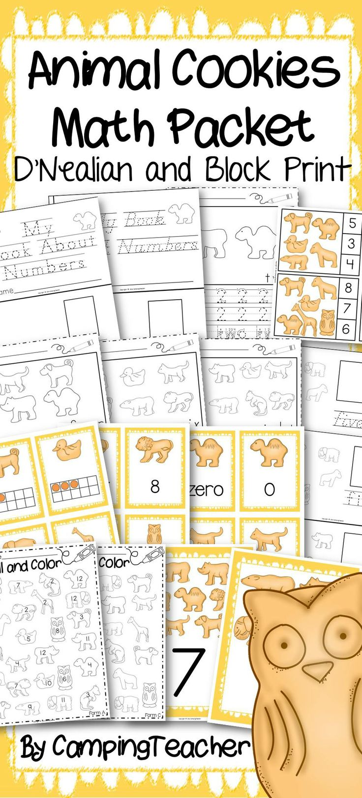 Animal Cookies Math Packet.  Handwriting, Number cards matching, posters, math centers.