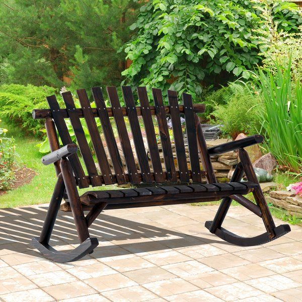 Just For You Hutson Outdoor Rocking Bench By Loon Peak Furniture Patiofurniture Rocking Bench Outdoor Rocking Chairs Patio Rocking Chairs