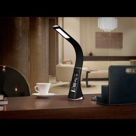 Lámpara de sobremesa de estudio LED, realizado en ABS y caucho negro, textura piel con costuras. Brazo flexible. Intensidad regulable. Pantalla VA con reloj, alarma, calendario y termómetro. Temperatura de color 5000K 5W