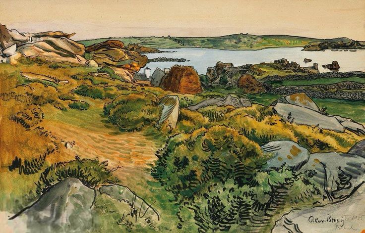 Alexandre Benois (1870 - 1960, Russia France)   Beach. Primel. 1905 watercolor on paper pasted on cardboard   30 х 46,9 cm.   Александр Николаевич Бенуа