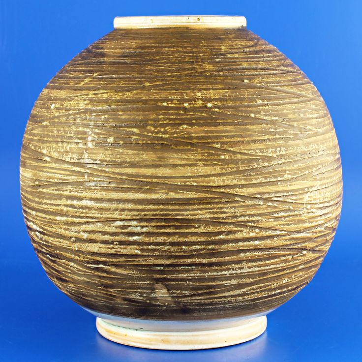 John Andersson (1950's) Spherical light brown vase with relief pattern