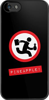 "Chuck TV show ""Pineapple!"" black iPhone case by GreenSpeed"