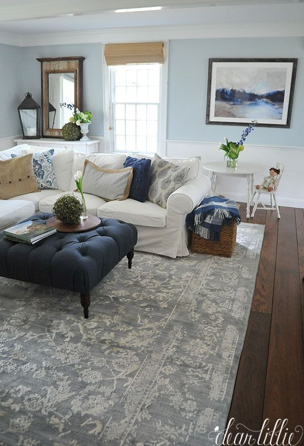 blue accents added in living room