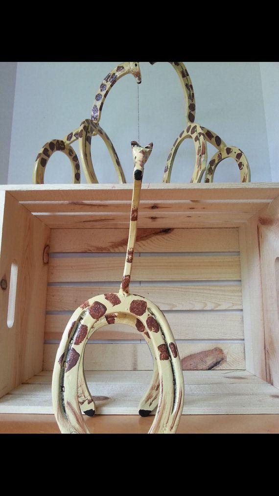 Horseshoe Art Giraffe Statue Garden Art by Whoagirldesigns on Etsy
