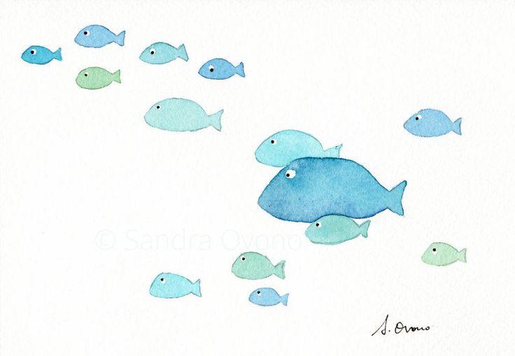 Blue School di pesce illustrazione pittura acquerello