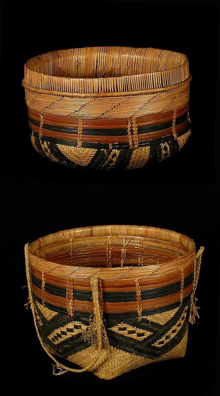 Africa | Top and bottom of a lidded basket from Congo | Natural fiber, pigments | ca. 1913