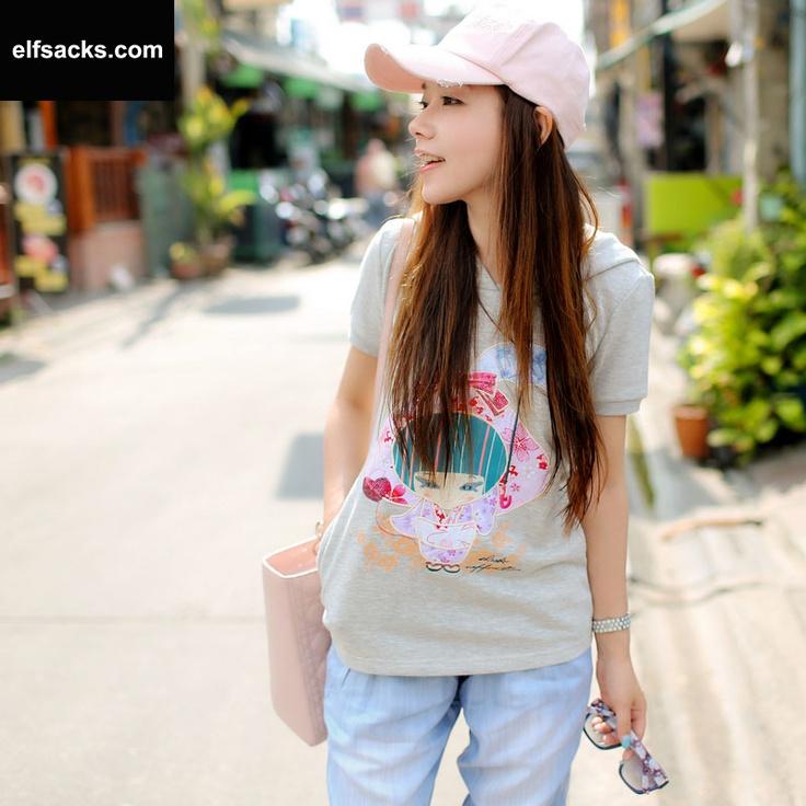 Womens Loose Cartoon Round Collar Short Sleeve Gray Tshirt Hoodies