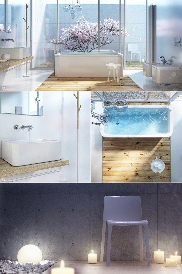 salles de bains nature galet blanc bougie eau cristaline rectangulaire