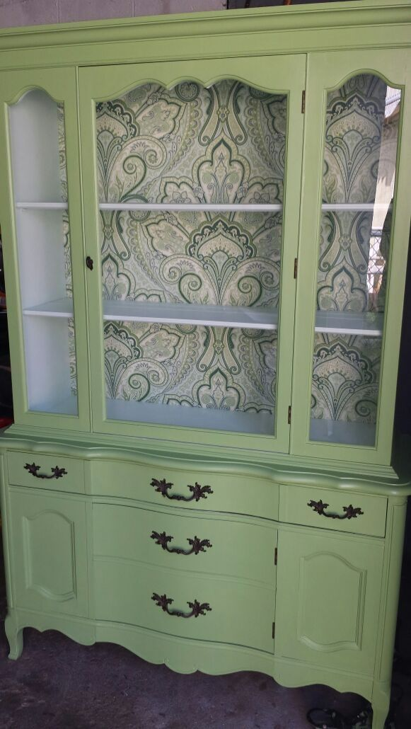 "China hutch, 68.5 "" high, 45 "" wide, 15"" deep. Chalk painted in Belle grove sorbet ( interior ) and brush meadow exterior with a hand rubbed paste wax finish. Drawer and back hutch lined with a paisley fabric. $325 OBO."