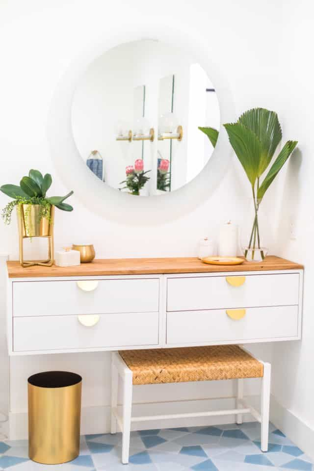 Diy Dressing Table How To Make An Ikea Vanity Hack Sugar Cloth In 2020 Ikea Vanity Ikea Dressing Table Diy Dressing Tables