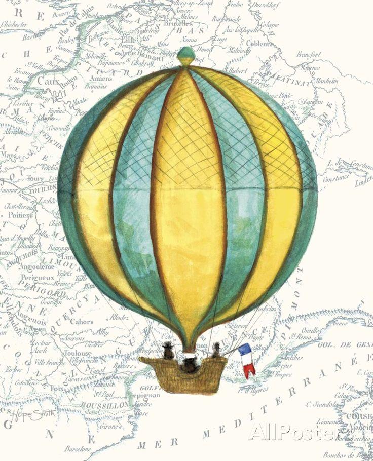 Vintage Striped Air Balloon Art Print at AllPosters.com