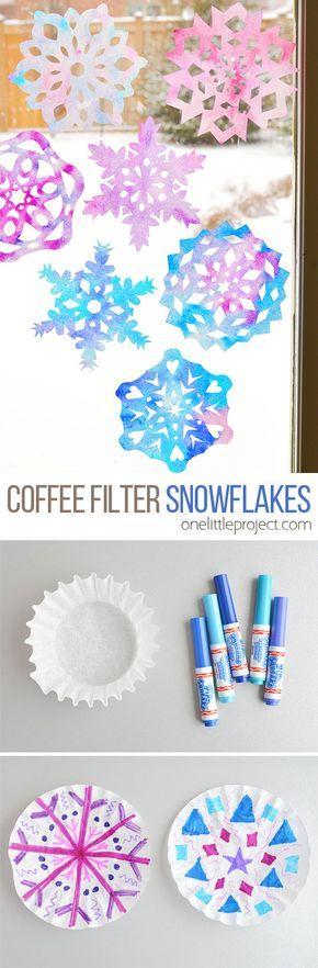 Wie man Kaffeefilter-Schneeflocken macht