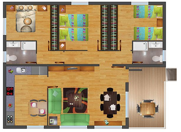 Planos de casas madera 3 dormitorios buscar con google for Diseno de casa de 5 x 10