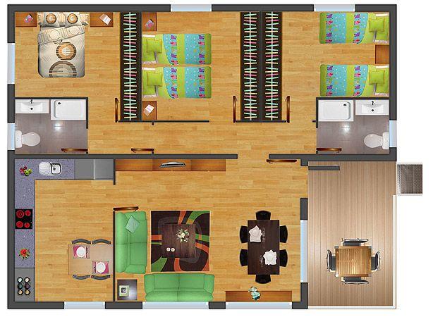 Mejores 22 im genes de distribuci n casa en pinterest for Casas rectangulares