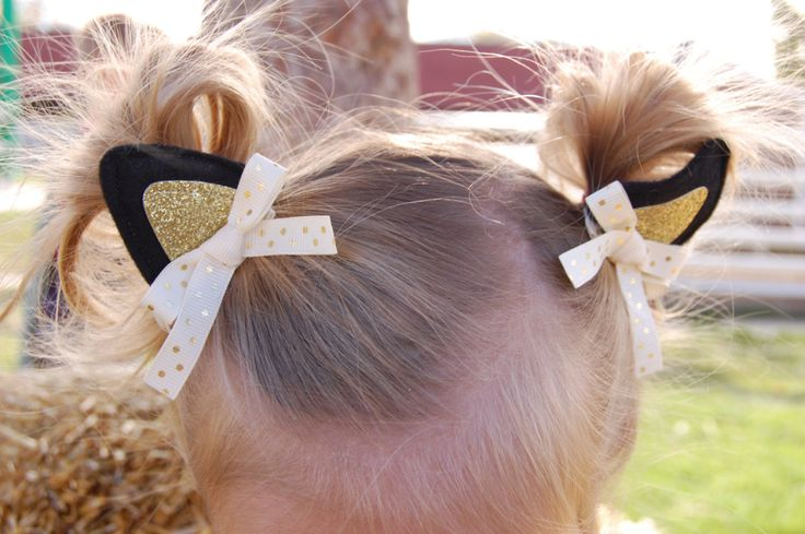 """Kitten Ears Hair Clips """"Purrfect"""" for Cat or Kitty Halloween Costume Dress Up Costumes Cat-sessorize!"""