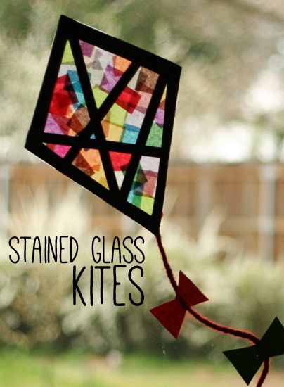 Tissue paper stained glass kites for kids - could laminate final design instead of using clear sticky plastic film...