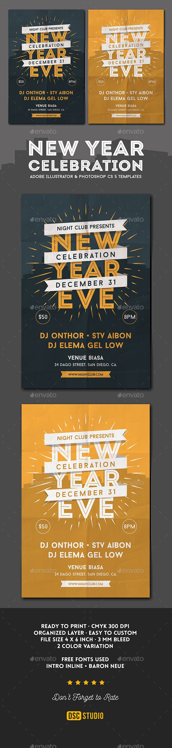 571 best New Year Party Flyer Templates images on Pinterest