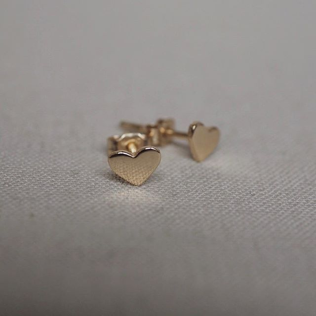 Solid Gold You Are My Heart Stud Earrings