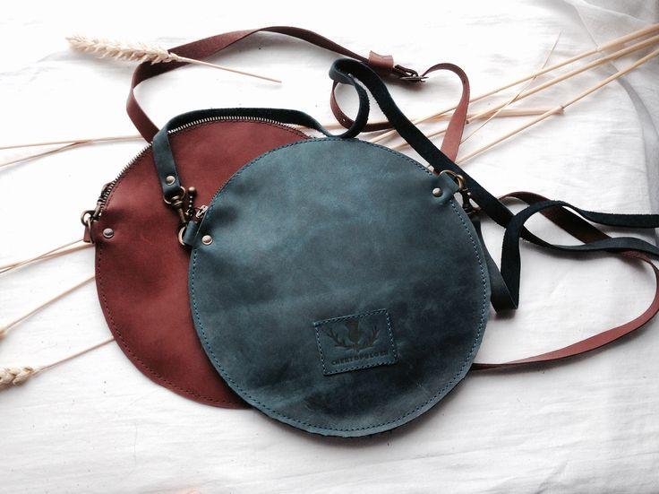 Кожаная круглая сумка на молнии (сумка-блинчик) синяя. натуральная кожа | «Ламбада-маркет»