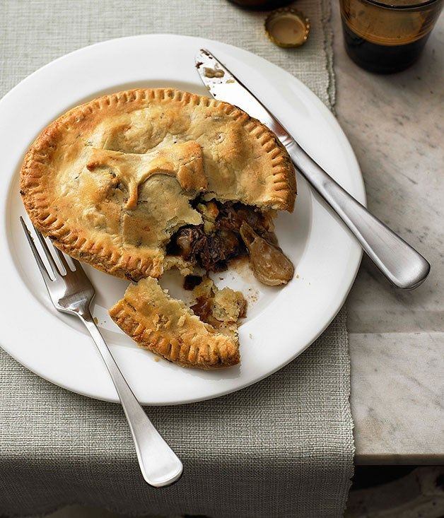 Beef cheek, onion and stout pies with thyme and onion pastry :: Gourmet Traveller