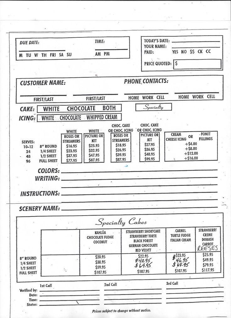 bakery order form