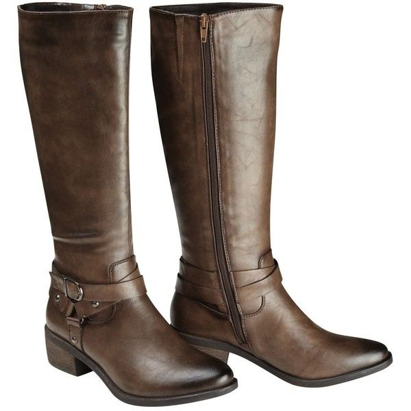 Brown anytime riding boot ($81) ❤ liked on Polyvore featuring shoes, boots, brown boots, brown shoes, dressy boots, joe browns and brown equestrian boots