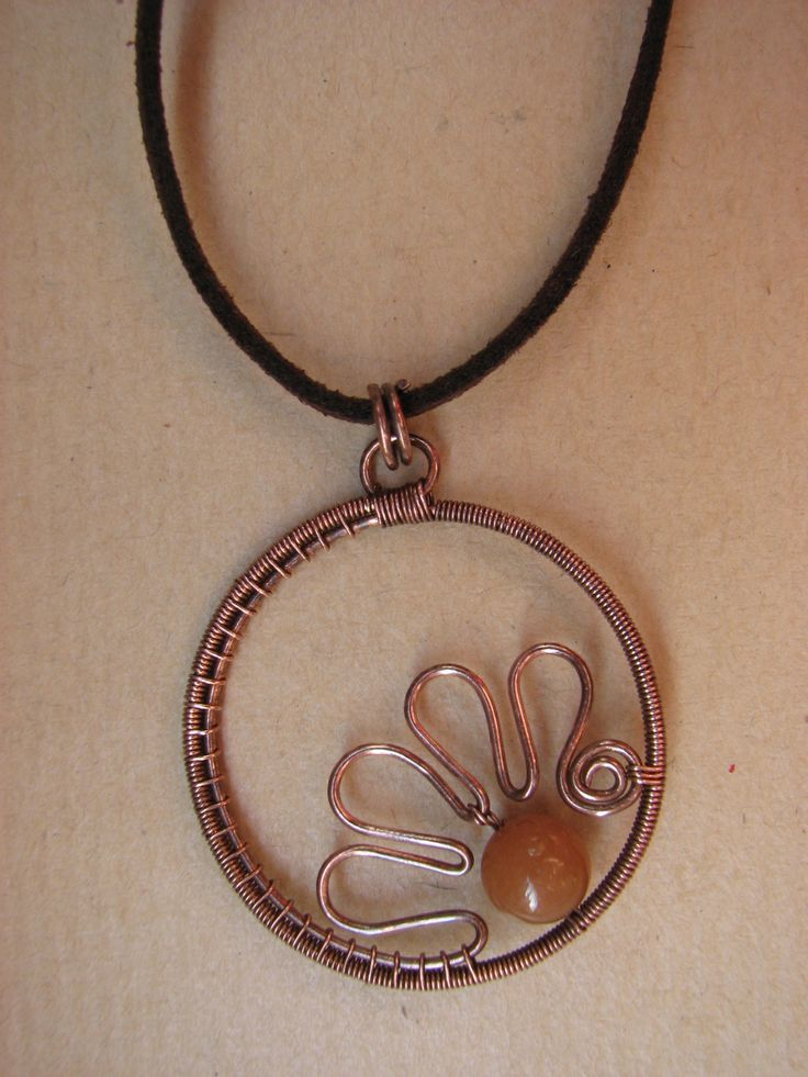 Copper Wire and Aventurine Pendant