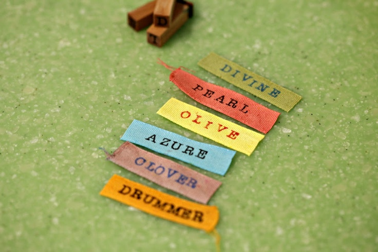 DIY size tags and labels (dyed cotton ribbon--you could also use twill tape--and simple rubber stamps)
