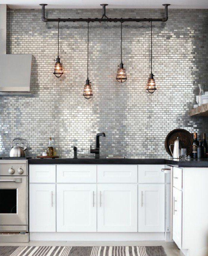style loft industriel clectique suspensions industrielles carrelage mur cuisine gris facade cuisine blanche - Cuisine Taupe Claire Et Mur Eb