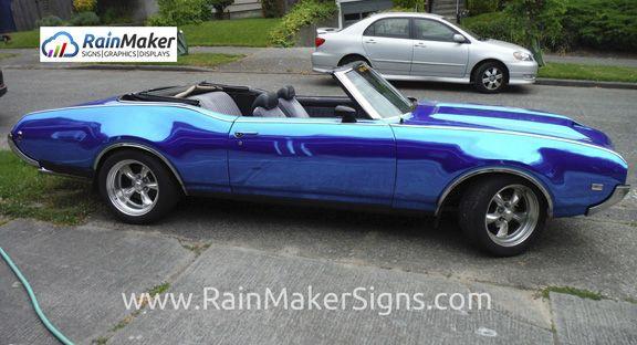 Rainmaker Signs Personal Vehicle Wraps Blue Chrome Vinyl