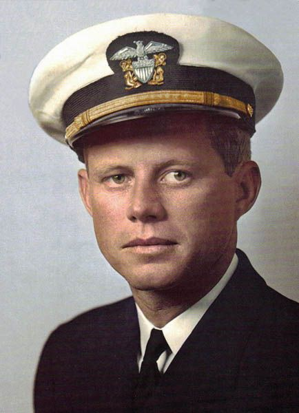 John F. Kennedy. WWII. Commanded a PT boat. Earned Purple Heart and Navy and Marine Corps Medal for heroism in the PT-109 Incident.
