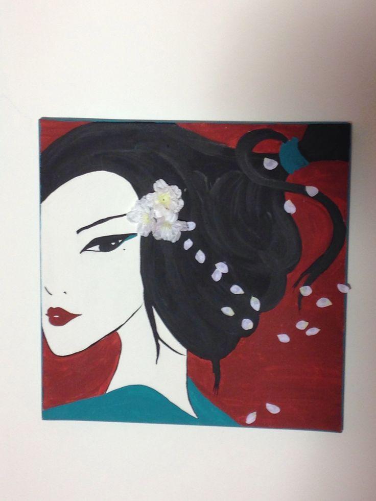 Geisha: selfmade canvas painting.