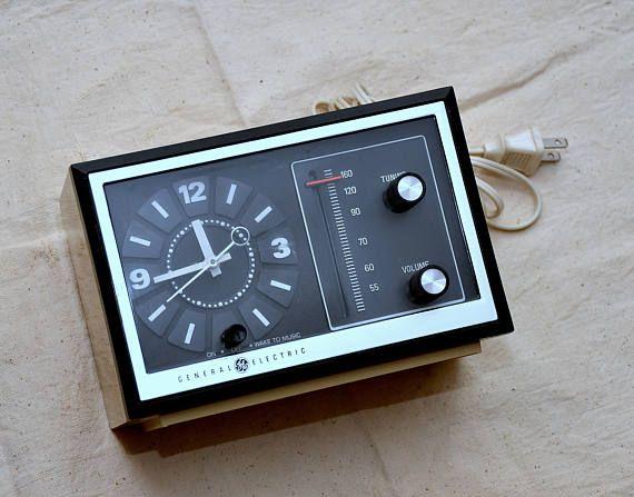 vintage GE alarm clock radio midcentury mid century General