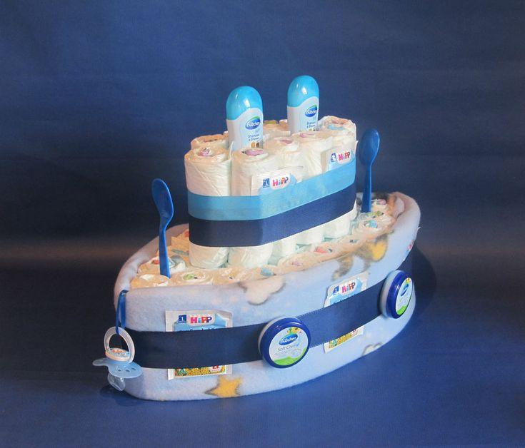 ♦ Windeltorte Windeln zur Geburt, Taufe in den Farben blau / pink & # x2F …   – Handicrafts