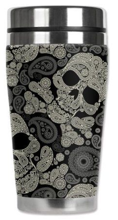 Amazon.com: Mugzie® brand 16-Ounce Travel Mug with Insulated Wetsuit Cover - Paisley Skulls: Kitchen & Dining