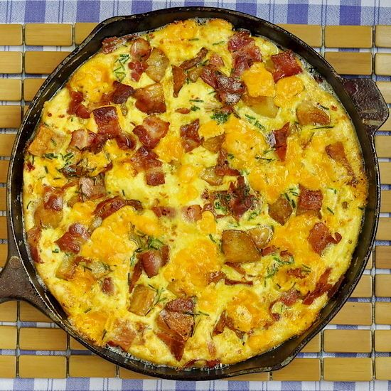Bacon Potato and Cheddar Frittata - a great idea for a Mother's Day brunch, this delicious frittata is a great solution for feeding the whole family in a single dish.