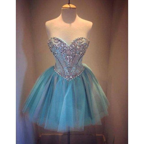 Short Blue Bead A-line Sweetheart Knee-length Lace Prom Dress Graduation Dress Formal Dress 2014