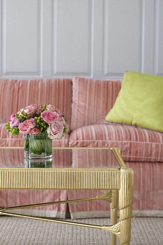 elegant pink sofa - living room-brass coffee table