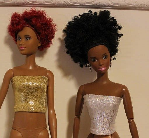Bare Essentials.  Pair of Shinny Gold & Silver  Tube Tops for  fashion dolls (Clothes only, regular and tall barbie dolls are not included)