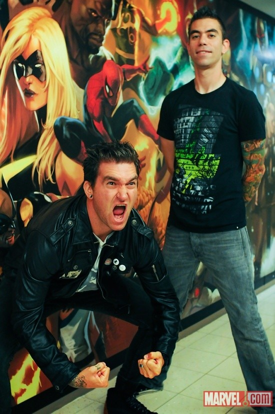 New Found Glory members Jordan Pudnik and Cyrus Bolooki at Marvel HQ in NYC    http://fans.marvel.com/agent_m/blog/2011/10/28/new_found_glory_visit_marvel_comics