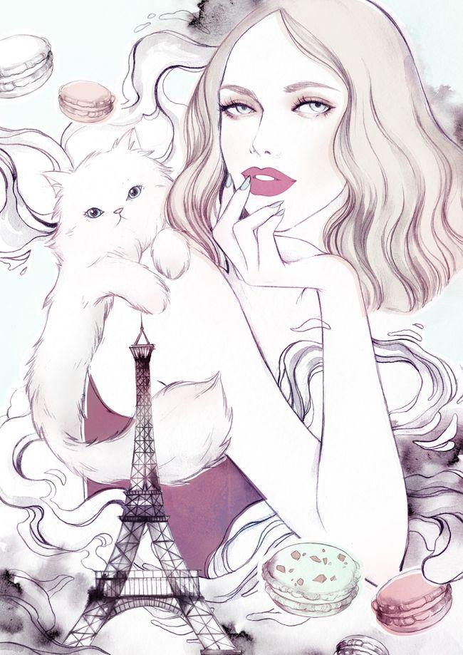 Pinned From #Sophia Kensington #Fashion Illustration: Mint & Strawberry - Soleil Ignacio Illustrations