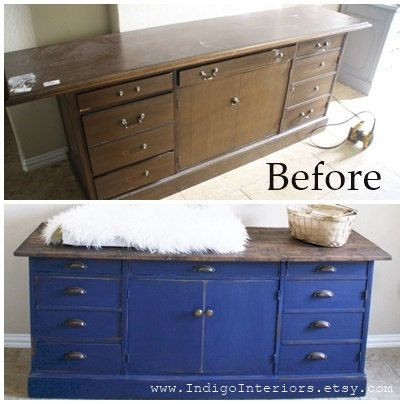 Farmhouse Style Navy Blue Distressed Dresser By Indigo Interiors On Etsy Before And After