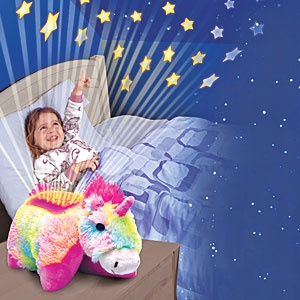 """Dream Lites (TM) (Unicorn) - Transforms from lovable plush playmate into comforting nightlights at the push of a button! Color-changing LED lights instantly project a starry sky onto ceiling and walls, while the top """"shell"""" glows to help your child ease off to sleep. $39.98 CAD"""