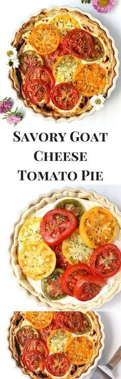 get ready to use your tomatoes!! this Savory Goat Cheese Tomato Pie is fluffy, sweet, savory, and delicious - can use a homemade crust (as written in the recipe) or buy one store-bought! flexible and gorgeous