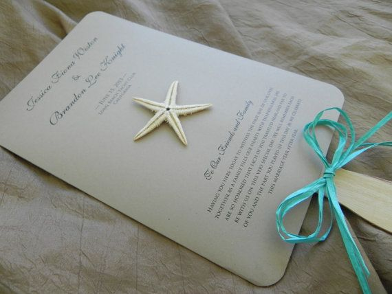 Natural Double Sided Wedding Program Fan With Wavy Paddle And Starfish