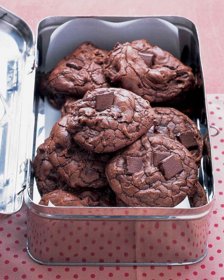 Outrageous Chocolate Cookies | Martha Stewart Living - Don't bake these rich double-chocolate cookies to a crisp; they are meant to be soft and chewy.